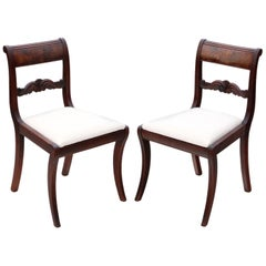 Antique Pair of Regency Mahogany Dining Side Hall Bedroom Chairs, circa 1825