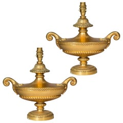 Antique Pair of Regency Style Urn Lamps