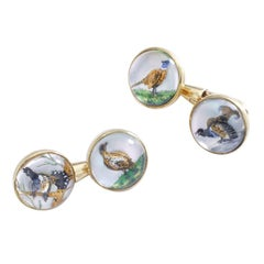 Antique Pair of Rock Crystal Gold Hunting Motifs Cufflinks