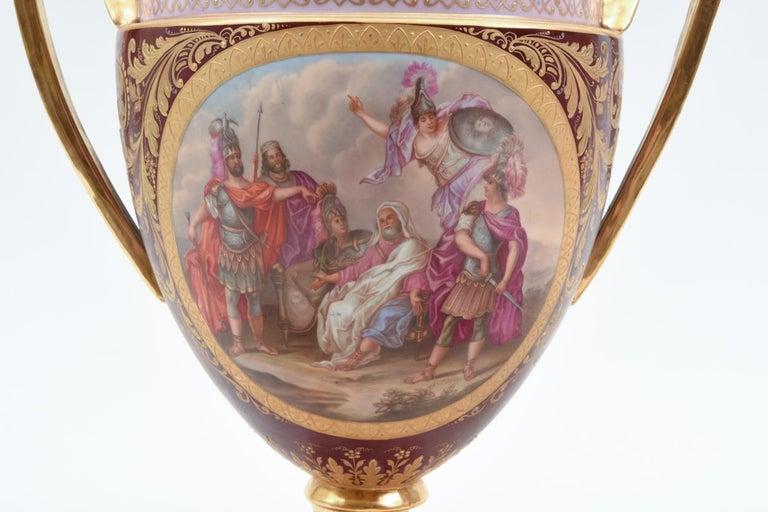 Antique Pair of Royal Vienna Porcelain Decorative Pieces / Urns For Sale 6