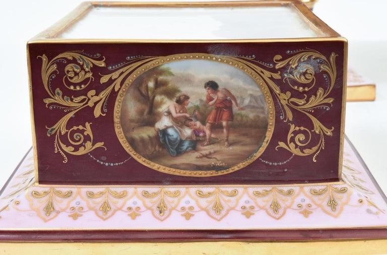 Antique Pair of Royal Vienna Porcelain Decorative Pieces / Urns For Sale 7