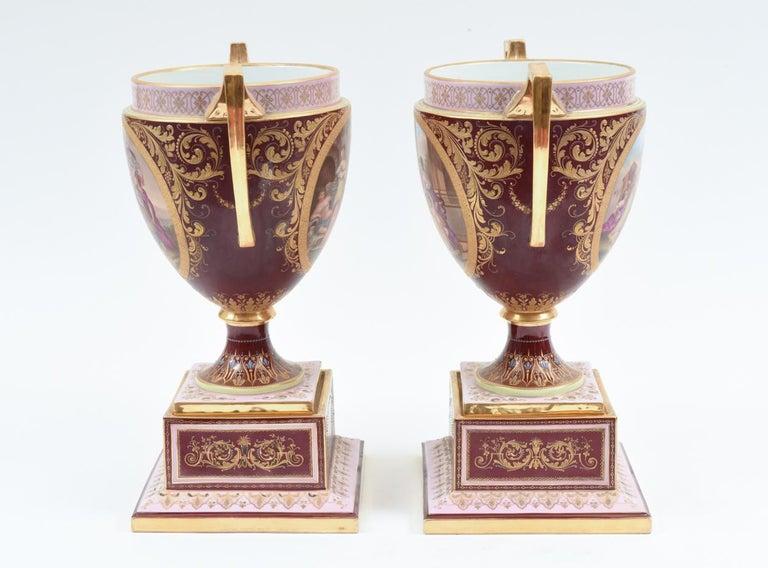 Antique Pair of Royal Vienna Porcelain Decorative Pieces / Urns For Sale 9