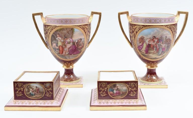 Antique Pair of Royal Vienna Porcelain Decorative Pieces / Urns For Sale 10