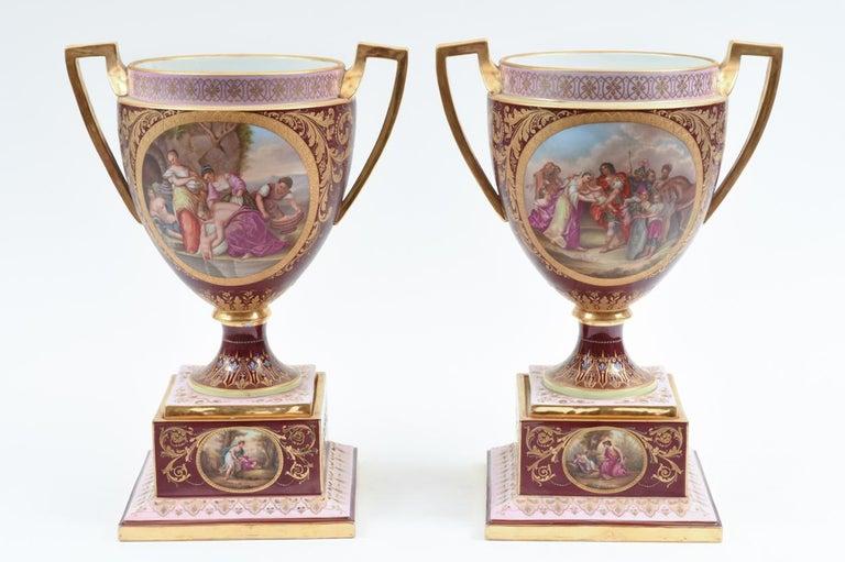 European Antique Pair of Royal Vienna Porcelain Decorative Pieces / Urns For Sale