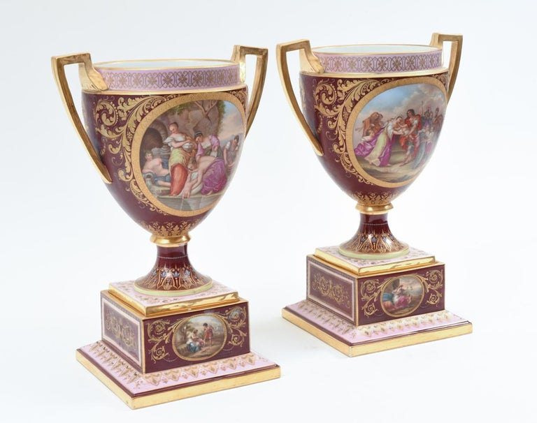 Antique Pair of Royal Vienna Porcelain Decorative Pieces / Urns In Excellent Condition For Sale In Hudson, NY