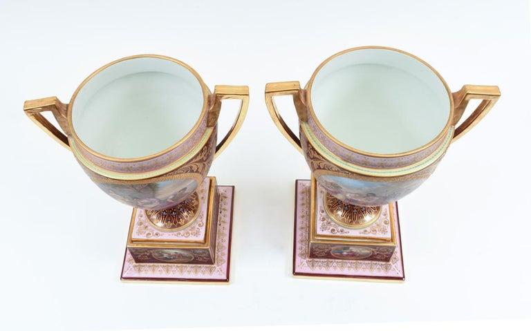 Antique Pair of Royal Vienna Porcelain Decorative Pieces / Urns For Sale 1