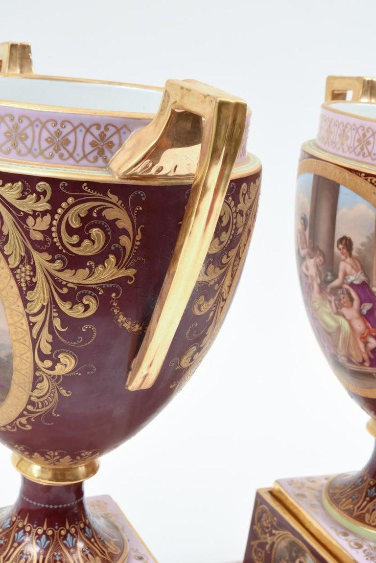 Antique Pair of Royal Vienna Porcelain Decorative Pieces / Urns For Sale 2