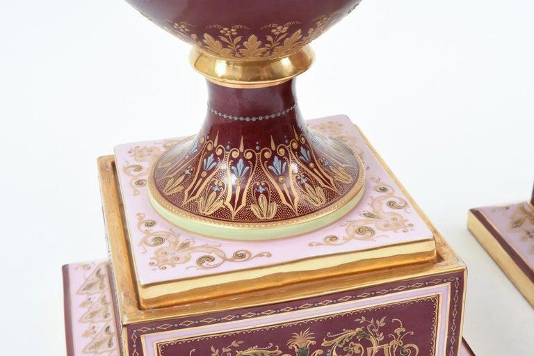 Antique Pair of Royal Vienna Porcelain Decorative Pieces / Urns For Sale 4