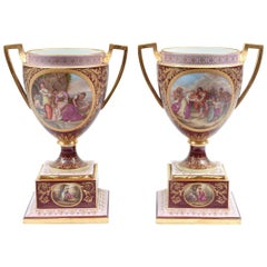 Antique Pair of Royal Vienna Porcelain Decorative Pieces / Urns