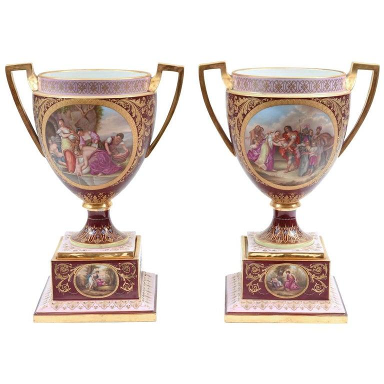 Antique Pair of Royal Vienna Porcelain Decorative Pieces / Urns For Sale