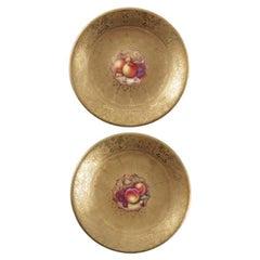 Antique Pair of Royal Worcester Acid Gilt Plates, Mid 20th C