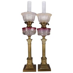 Antique Pair of Rubina Glass and Brass Electrified Oil Parlor Lamps, circa 1840