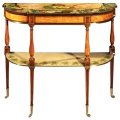 Antique Satinwood and Painted Console Table, Late 18th Century