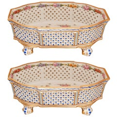 Antique Pair of Sèvres Hand Painted Porcelain Baskets with Open Gallery