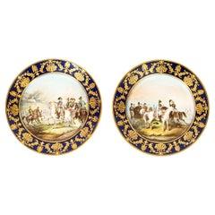 Antique Pair of Sevres Napoleon Cabinet Plates Mentmirail Imp De Sevres