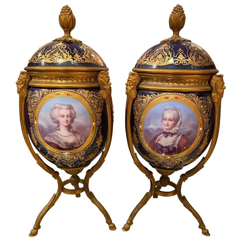 Antique Pair of 'Sèvres' Ormolu Mounted Vases and Covers, 1860