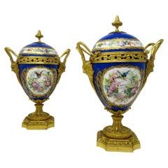 Antique Pair of Sèvres Porcelain Still Life Ormolu Cobalt Blue Urns Vases