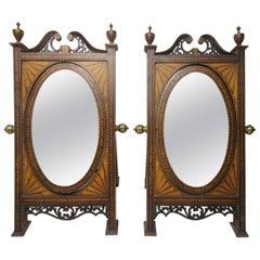 Antique Pair of Sheraton Shell Inlaid Mahogany Miniature Table Cheval Mirrors