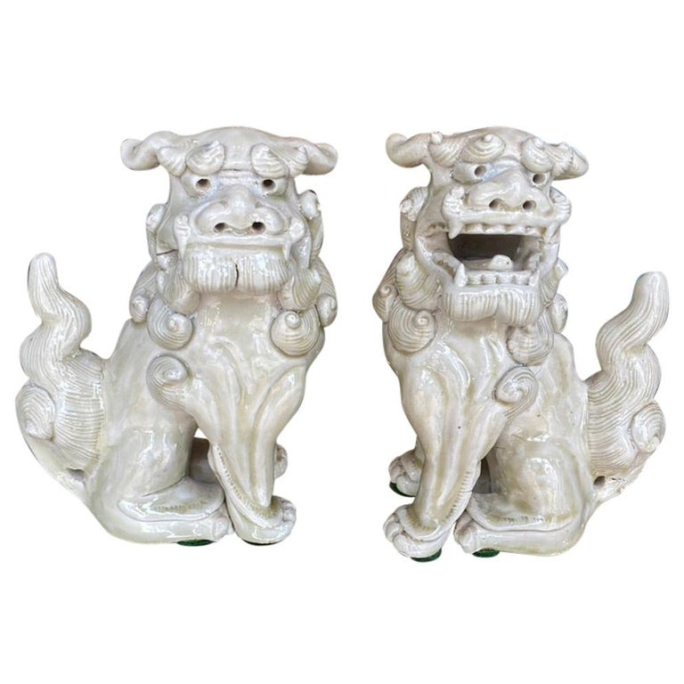 Antique Pair of Shi Shi Foo Dogs For Sale