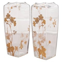 Antique Pair of Signed Baccarat Floral Gilded Vases