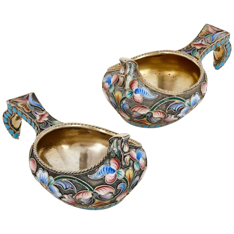 Antique Pair of Silver-Gilt and Enamel Kovshes by Semenova For Sale