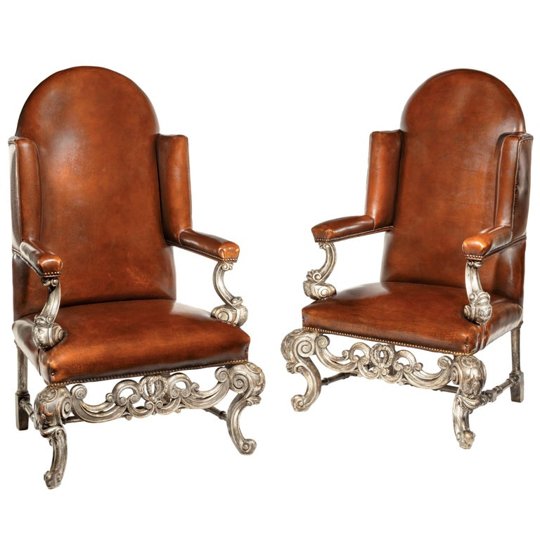 Antique Pair Of Silver Gilt Leather Upholstered Wing