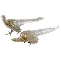 Antique Pair of Silver Large Bird Figurines, Possibly Spanish, 20th Century