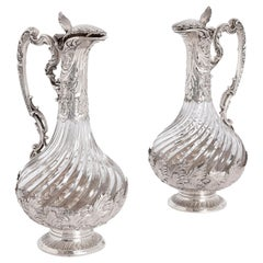 Antique Pair of Silver Mounted Cut Glass Jugs