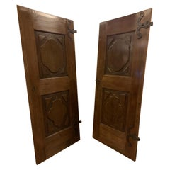 Antique Pair of Single Oak Doors, 18th Century, Italy