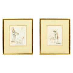 Antique Pair of Sketches by Thomas Barker of Bath, 18th Century