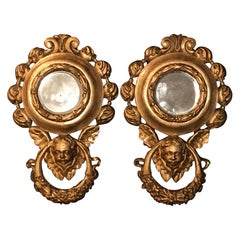 Antique Pair of Small French Baroque Style Carved Giltwood Wall Mirrors