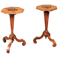 Antique Pair of Small Walnut Marquetry Tables