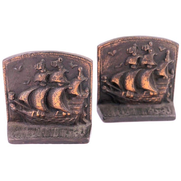 Antique Pair of Solid Bronze Bookends Galley by Novelty Manufacturing Co. For Sale