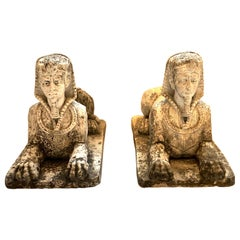 Antique Pair of Sphinx Pharaoh Head Cast Stone Garden Ornaments, Italy