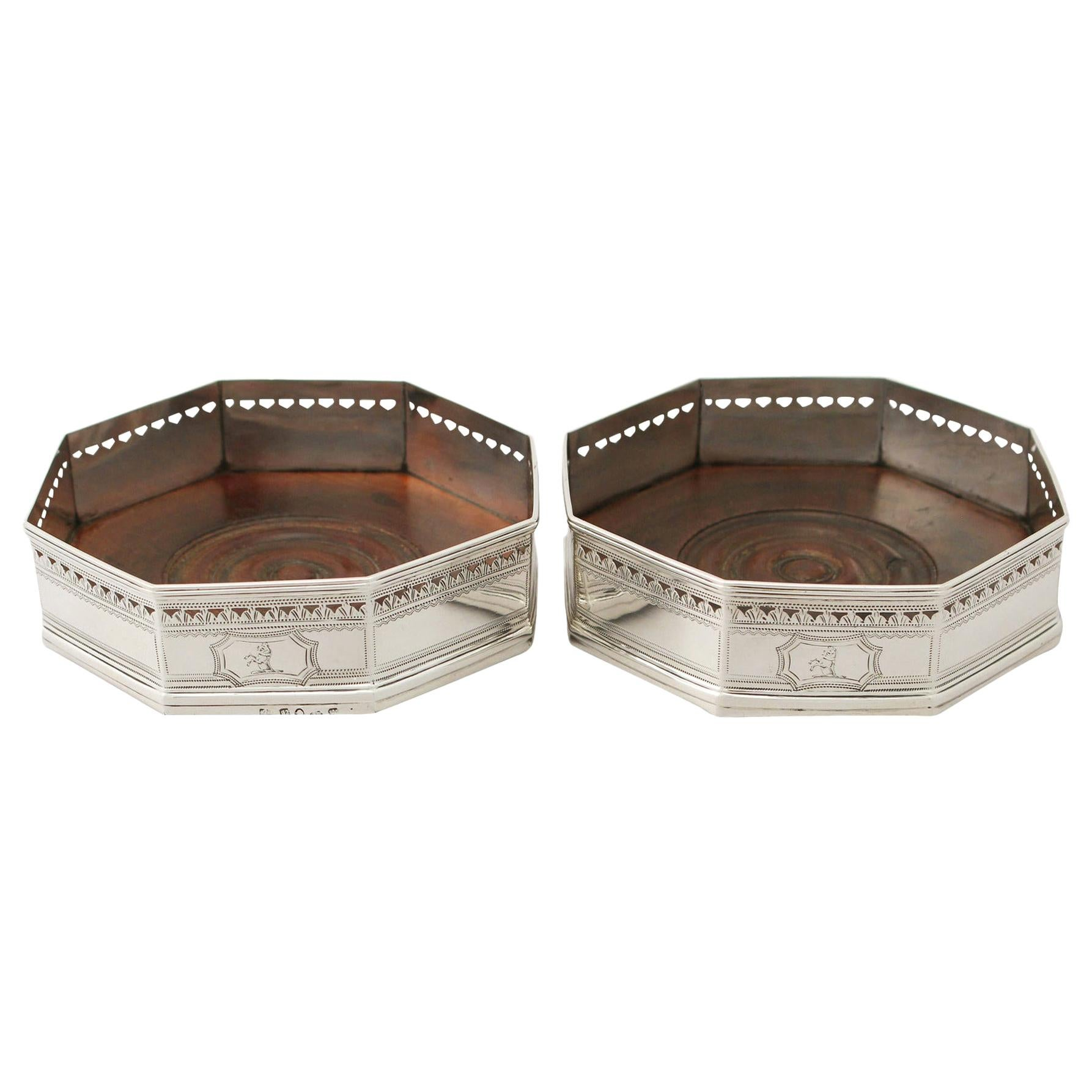 Antique Pair of Sterling Silver Coasters