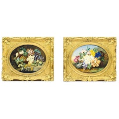 Antique Pair of Still Life Flowers by Anna Downing, 19th Century
