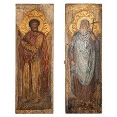 Antique Pair of Tall Icons on Wood Panel circa 1800s, Saint Bartholomew and Sai