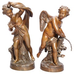 Antique Pair of Tiffany & Co. Classical Cupid Bronze Sculptures, circa 1890