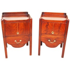 Antique Pair of Tray Top Bedside Night Tables