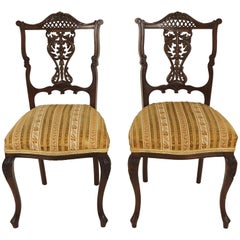 Antique Pair of Upholstered Mahogany Parlour or Side Chairs Scotland, 1900