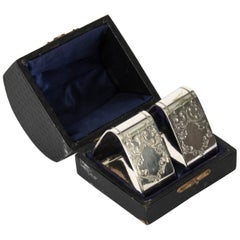 Antique Pair of Victorian Cased Silver Plated Napkin Rings, 19th Century