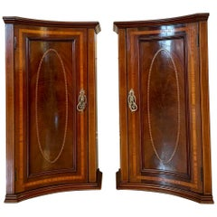Antique Pair of Victorian Mahogany Inlaid Shaped Bedside Cabinets or Nightstands