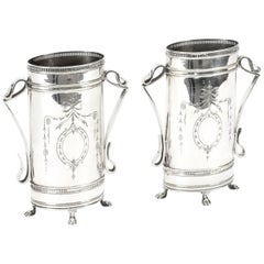 Antique Pair of Victorian Neoclassical Silver Plate Vases, 19th Century