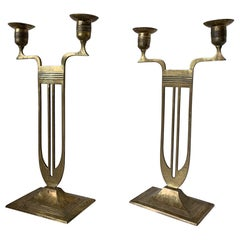 Antique Pair of Viennese Secession Brass Table Candlesticks / Holders by WMF