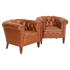 Antique Pair of Vintage Tan Leather Chesterfield Club Chairs, England