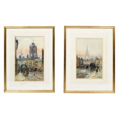 Antique Pair of Water Colors by Herbert Menzies Marshal, Dated 1866
