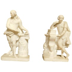Antique Pair of White Carrara Marble Statues, Teachers with Books, 1700, Italy