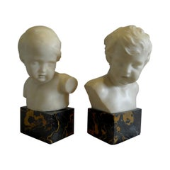 Antique Pair of White Marble Busts of Children on Variegated Marble Bases