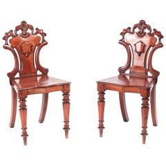 Antique Pair of William IV Mahogany Hall Chairs