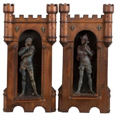 Antique Pair of Wood & Metal Wall Mounted Sculptures w/ Medieval Characters